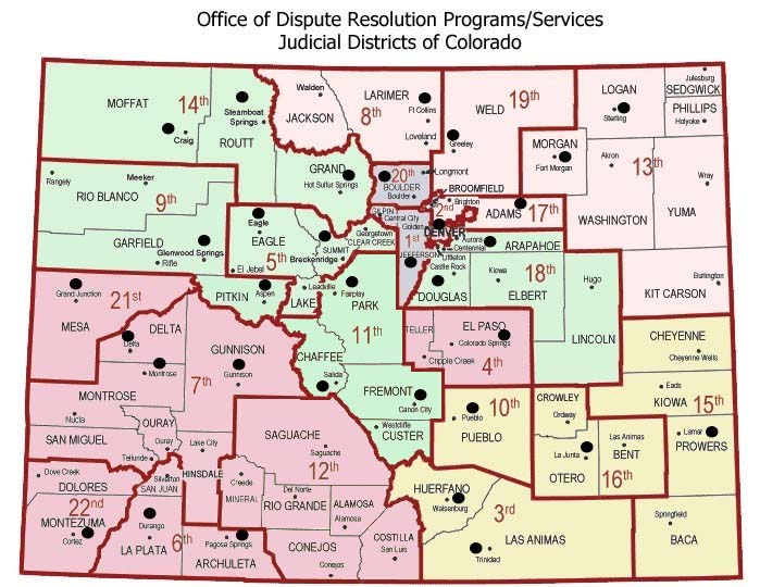 Colorado State Judicial Branch Courts District Map - Colorado state map