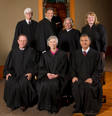 Back Row, from left: Justice Nathan B. Coats, Chief Justice Michael L.