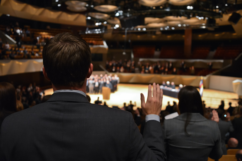 Newly minted lawyers take their oath during an Oct. 29, 2012, ceremony at Boettcher Concert Hall in Denver for the Supreme Court Assembly of Lawyers.