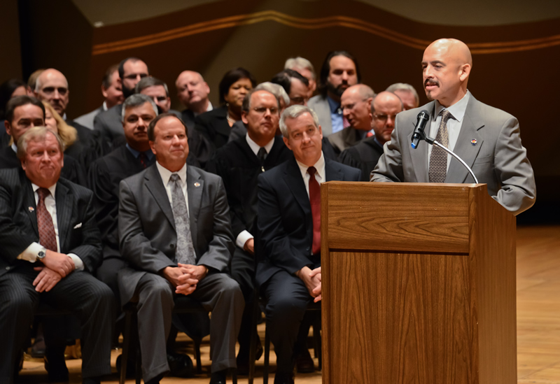 Lieutenant Governor Joe Garcia speaks during an Oct. 29, 2012, ceremony at Boettcher Concert Hall in Denver for the Supreme Court Assembly of Lawyers.