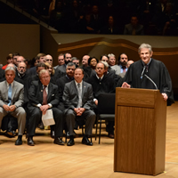 Chief Justice Michael L. Bender addresses the audience during an Oct. 29, 2012, ceremony at Boettcher Concert Hall in Denver for the Supreme Court Assembly of Lawyers.