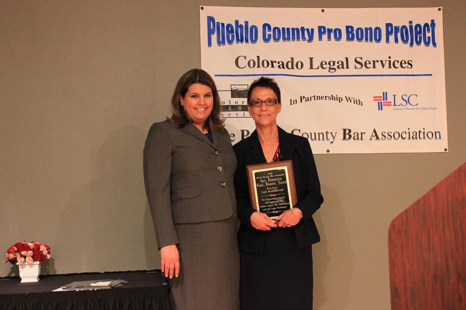 Pueblo Bar President Erica Vecchio, and CLS Pro Bono Coordinator Gail Rodosevich