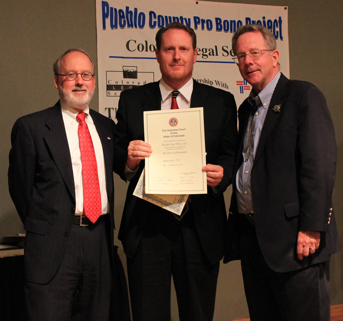 Pueblo attorney Wes Hassler and CLS Pro Bono Coordinator Gail Rodosevich