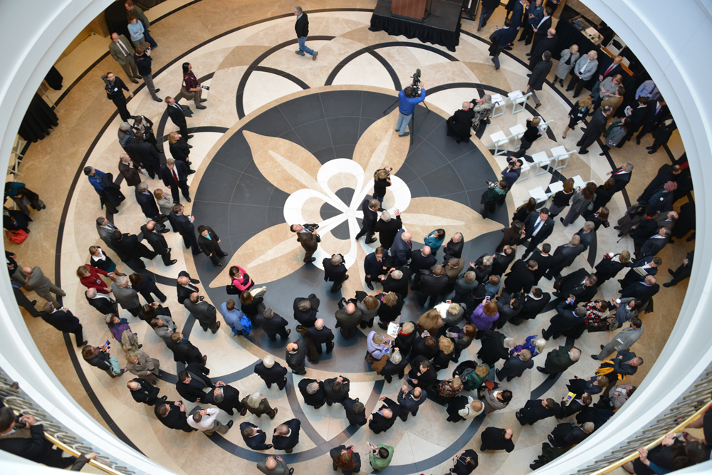 Guests watch a ribbon-cutting ceremony on Jan. 14, 2013, marking the opening of the Ralph L. Carr Colorado Judicial Center.