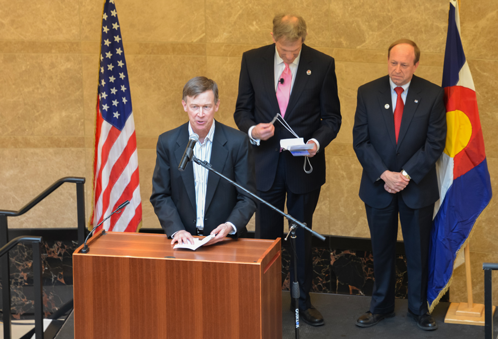 Governor John Hickenlooper speaks during the Jan. 14, 2013, ribbon-cutting ceremony at the Ralph L. Carr Colorado Judicial Center.