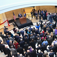 Chief Justice Michael L. Bender speaks to guests during the Jan. 14, 2013, ribbon-cutting ceremony at the Ralph L. Carr Colorado Judicial Center.