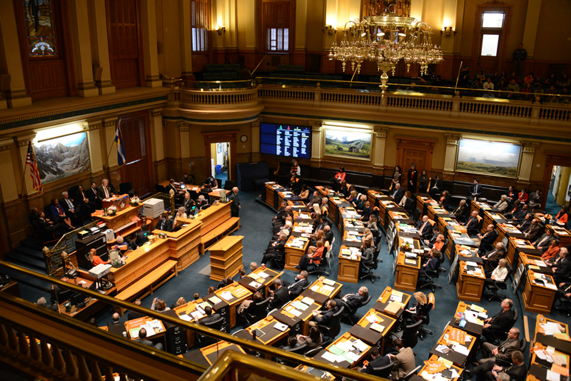 Chief Justice Michael L. Bender delivers the biannual State of the Judiciary address to a joint session of the Colorado General Assembly on Jan. 11, 2013.