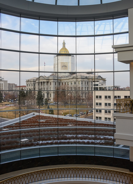 A view of the Capitol from the fourth-floor balcony in the atrium of the Ralph L. Carr Colorado Judicial Center.