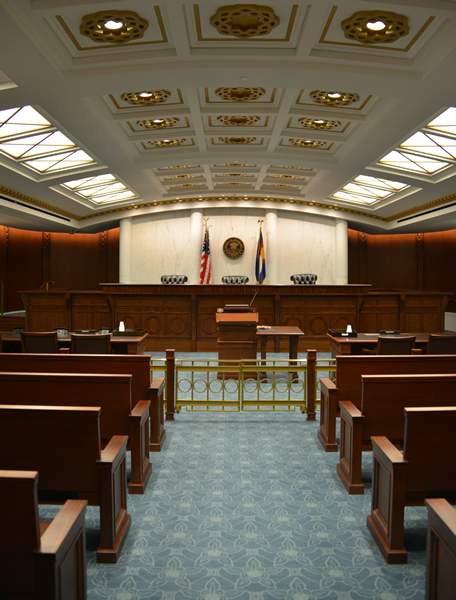 The ground-floor Court of Appeals courtroom at the Ralph L. Carr Colorado Judicial Center.