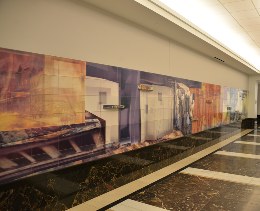 "A view of a portion of the art installation ""This Promises Water"" by Amy Baur in the Grand Hallway between the courthouse and office tower of the A commons area on the ground floor of the Ralph L. Carr Colorado Judicial Center."
