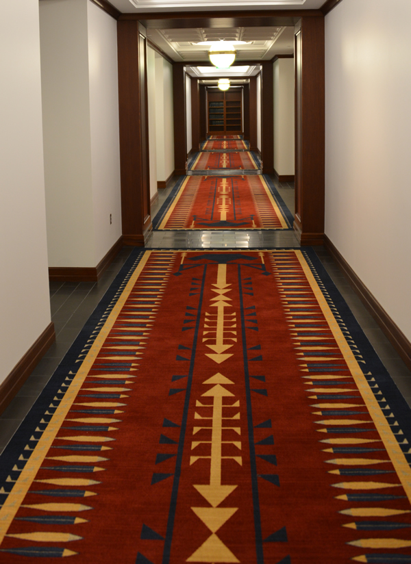 A hallway in the judicial chambers area of the Ralph L. Carr Colorado Judicial Center.