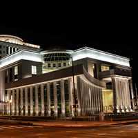 Ralph L. Carr Colorado Judicial Center at night.