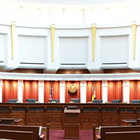 A view of the Supreme Court courtroom on the fourth floor of the Ralph L. Carr Colorado Judicial Center.