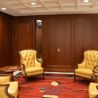 A meeting area near judicial chambers at the Ralph L. Carr Colorado Judicial Center.