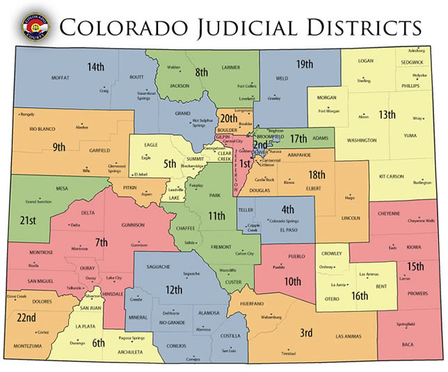 Colorado Judicial Districts map